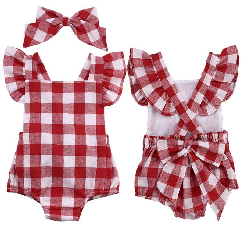 ac78ad04d Leana Red and White Gingham Baby Romper
