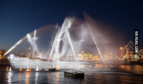 """Ghost ship"" made of water and light"