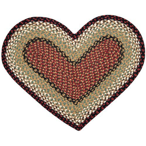 Burgundy Mustard Heart Shaped Braided Jute Rug 10 019 Shapes And