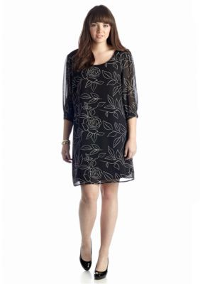 Heart N Soul  Plus Size Printed Floral Shift Dress