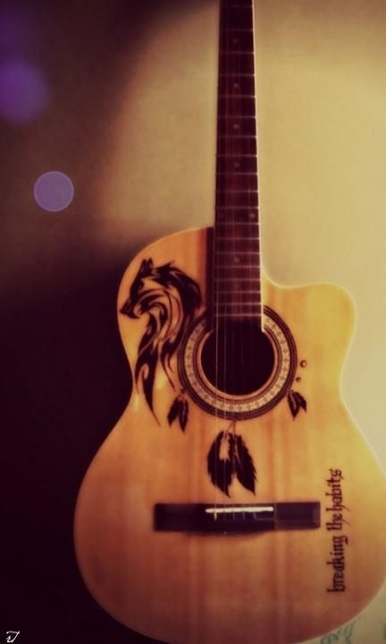 My wolf sharpie guitar by me pinterest guitars wolf for Acoustic guitar decoration