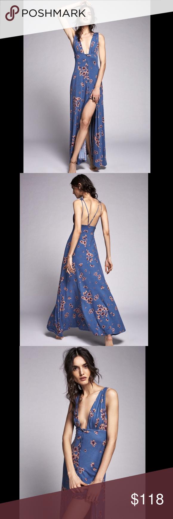 Free people blue tan purple drapy floral dress m pinterest brass