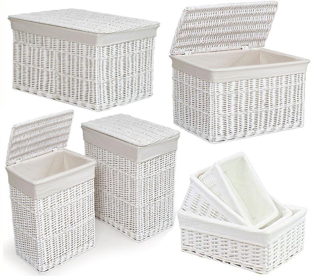Large Medium White Wicker Laundry Rectangular Basket W Lid Hamper