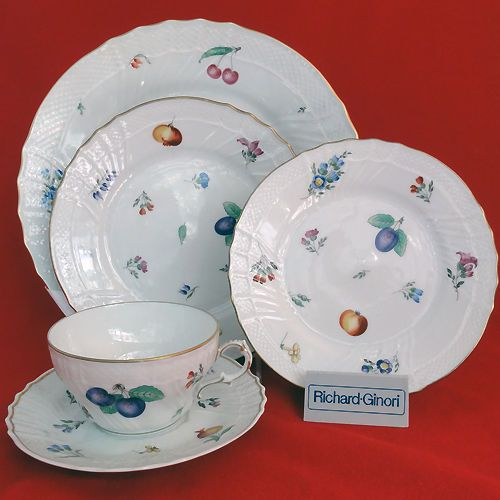 Ginori Perugia 5 Piece Place Setting NEW NEVER USED porcelain Italy hand painted & Ginori Perugia 5 Piece Place Setting NEW NEVER USED porcelain Italy ...