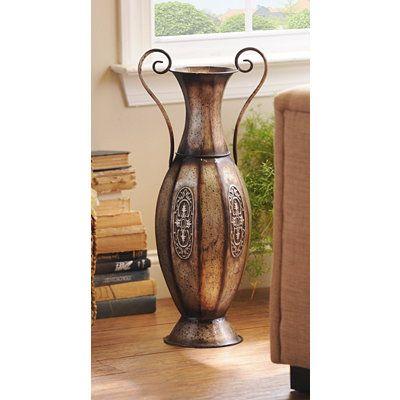 Pewter Urn Embossed Metal Floor Vase 16 99 Would Look Good With