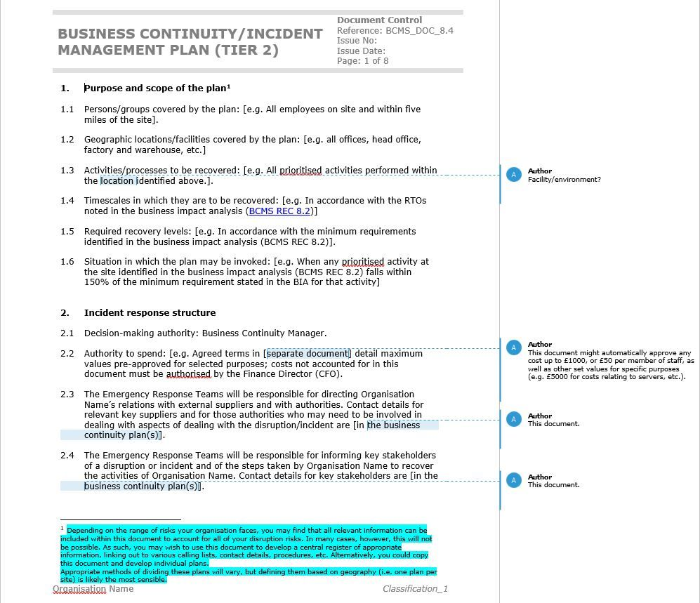 How To Write An Iso Business Continuity