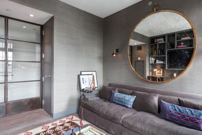 leseecke graue wandfarbe runder wandspiegel sofa | interior design ...