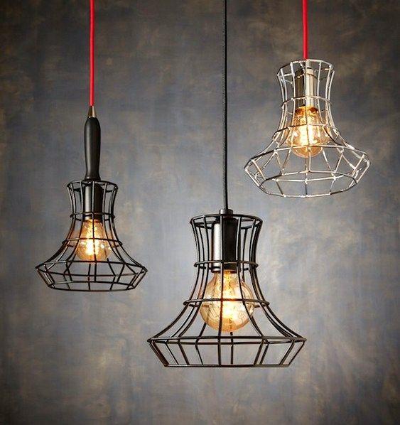Lustres e luminárias inspiradas em pendente de gaiola para oficina