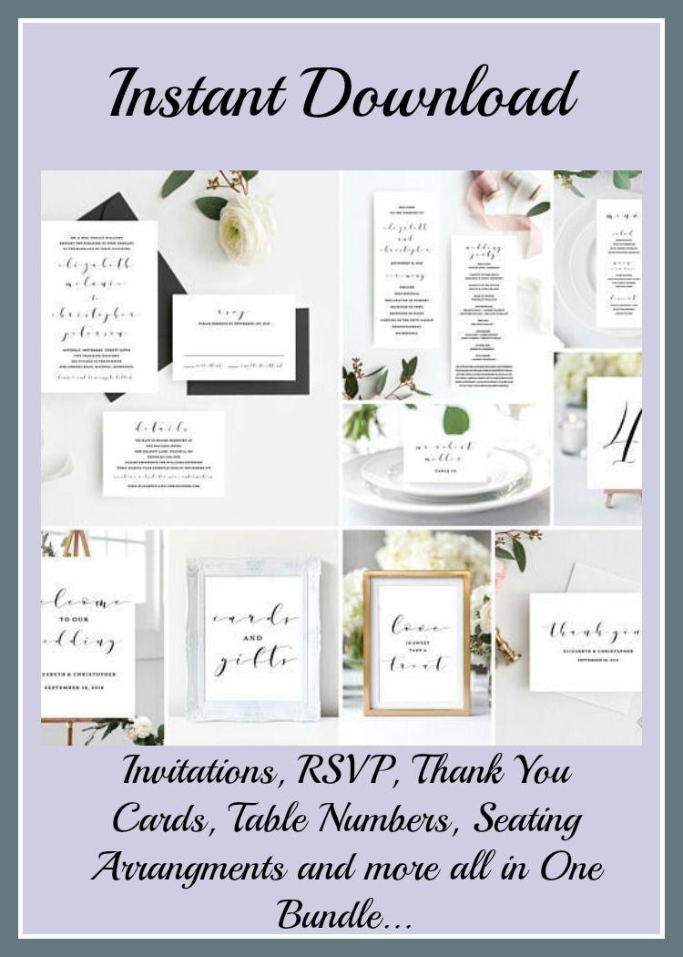 Instant downloadable, printable. Wedding invitation, Thank You notes ...