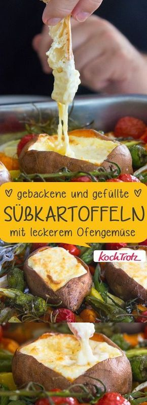 Photo of baked and stuffed sweet potatoes with baked vegetables – KochTrotz   creative recipes