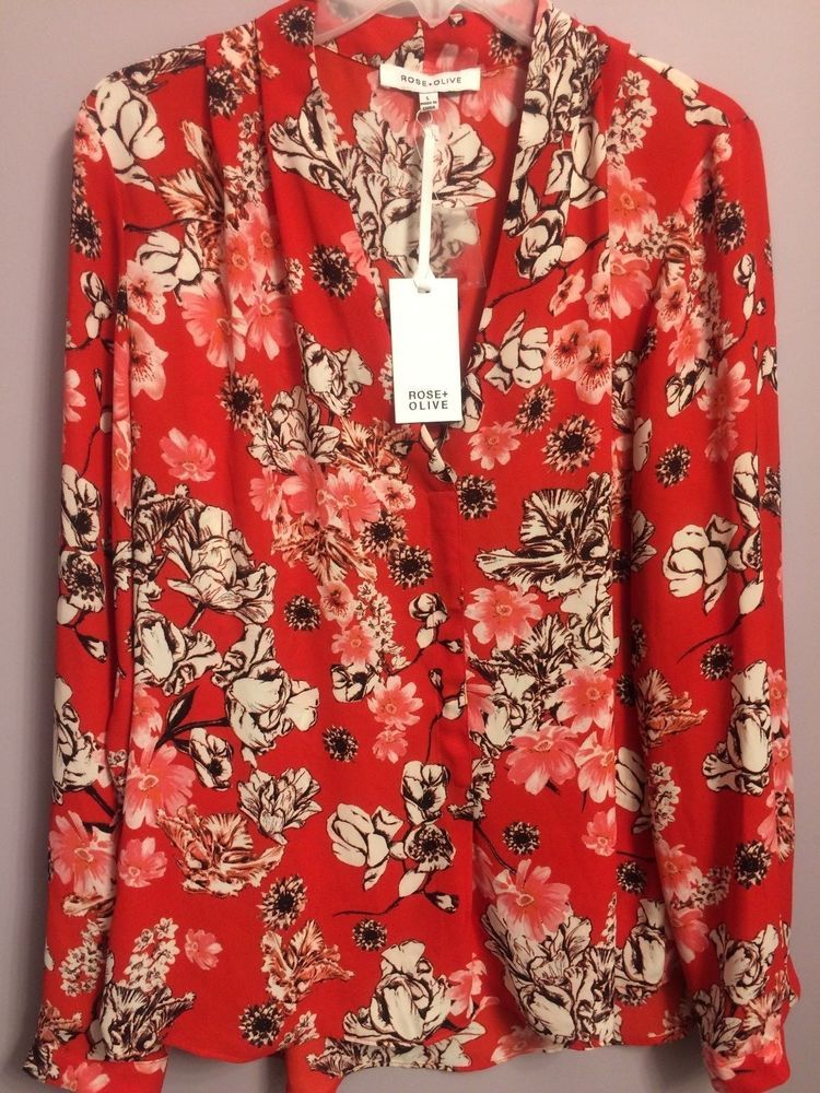 Large Red Blouse Long Sleeved Rose And Olive Floral Top Multi Color