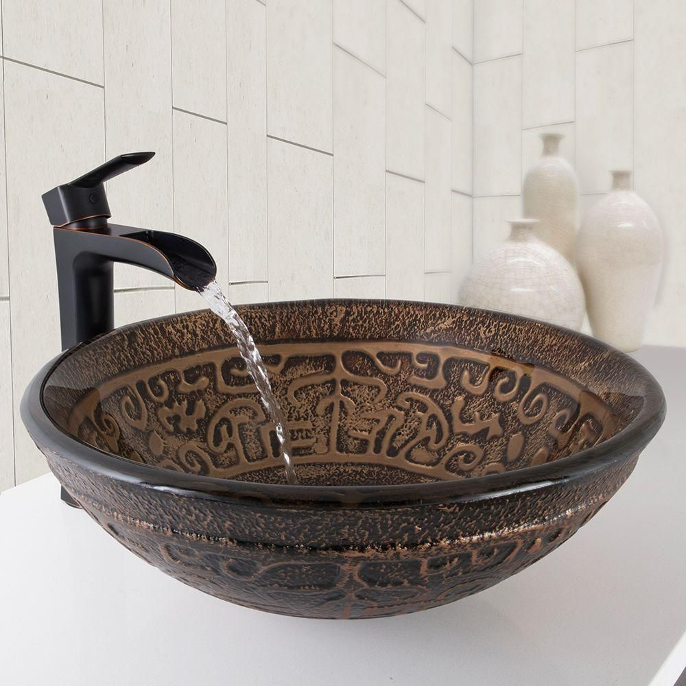 Vigo Vessel Sink In Golden Greek With Niko Faucet In Antique Rubbed Bronze Vgt1034 Vessel Faucets Glass Vessel Glass Vessel Sinks