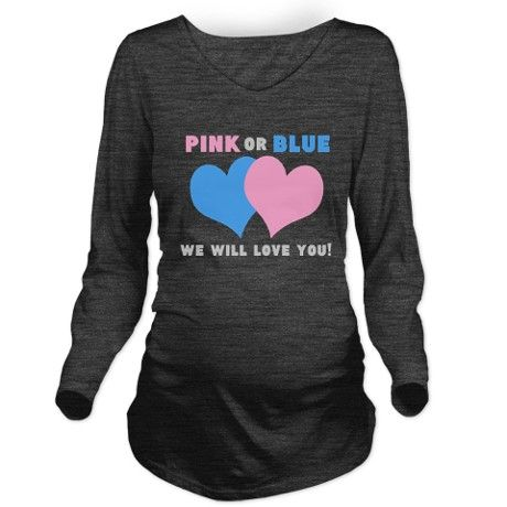 pink or blue Long Sleeve Maternity T-Shirt on CafePress.com CUTE AND FUN PREGNANCY SHIRT