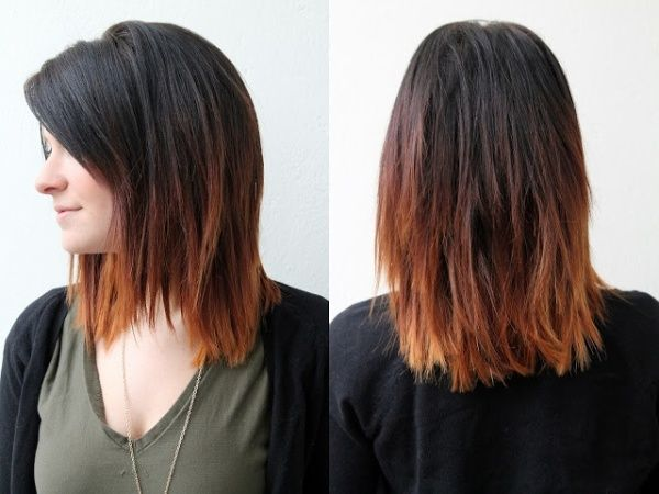 Here's another shoulder length style with ombre. This is a straight and choppy style with short layers in the back and face framing layers in the front.