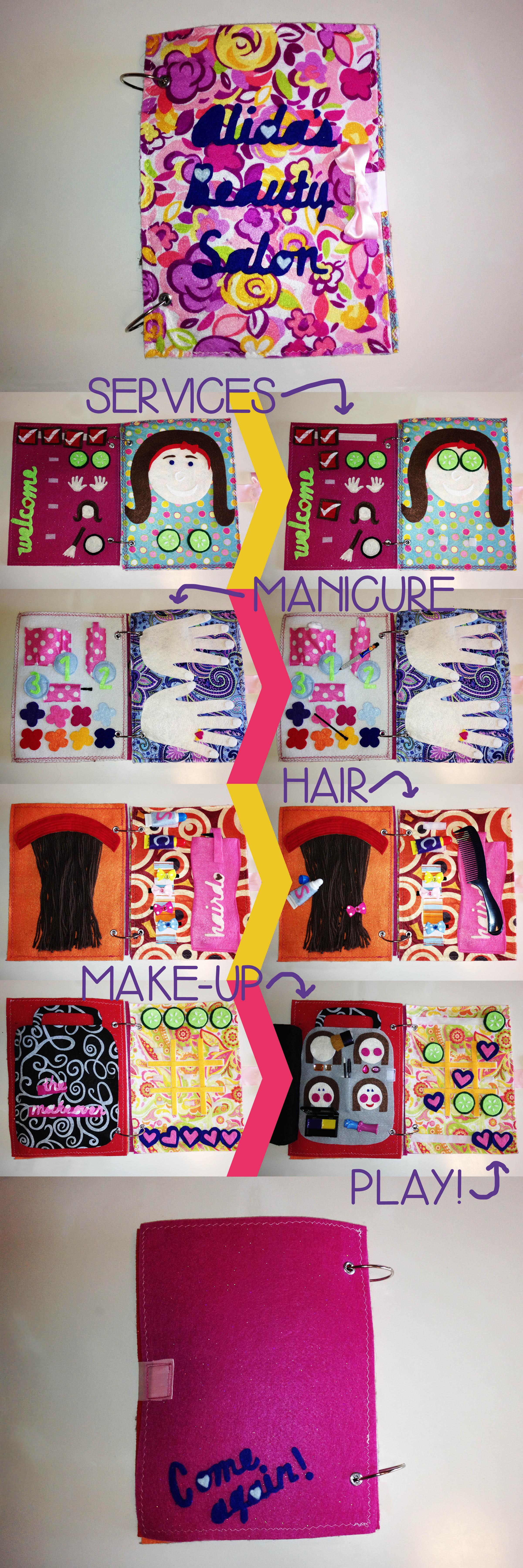 Girl's Beauty Salon Quiet Book. I love this! Diy quiet