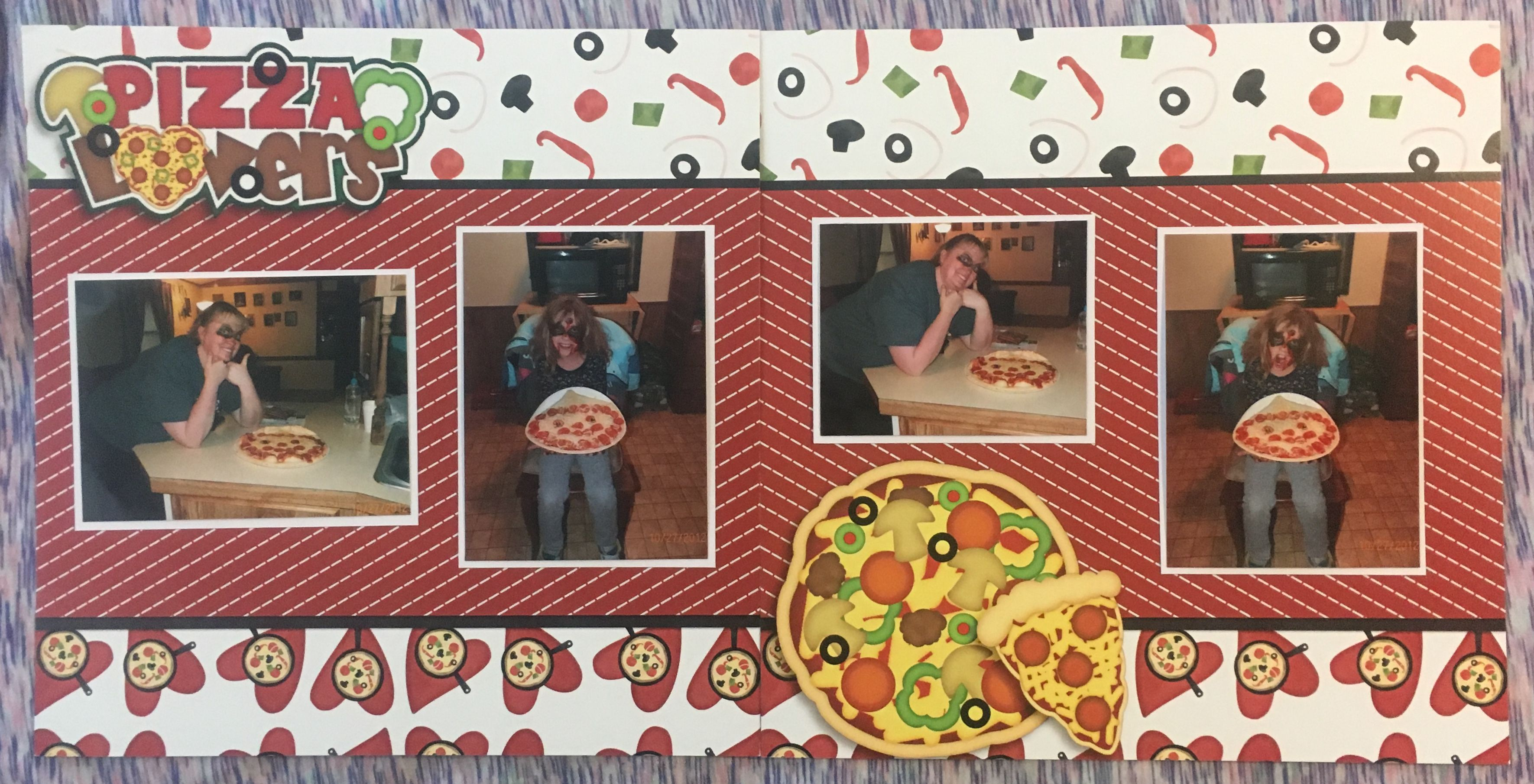 Handmade scrapbook layout paper from https ezscrapbooks com pizza