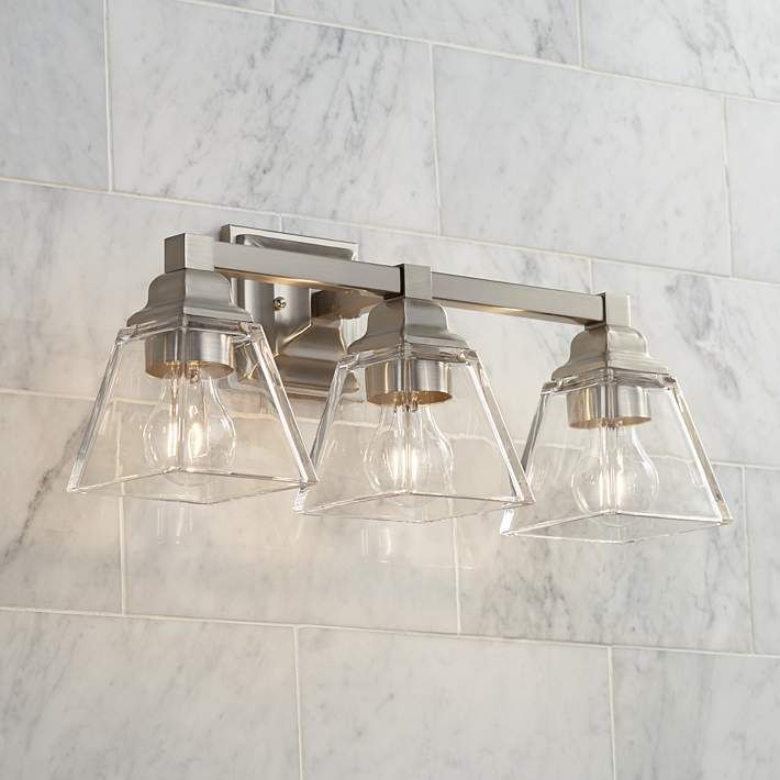 Photo of Mencino 20″ Wide Satin Nickel and Clear Glass Bath Light – #39D41   Lamps Plus