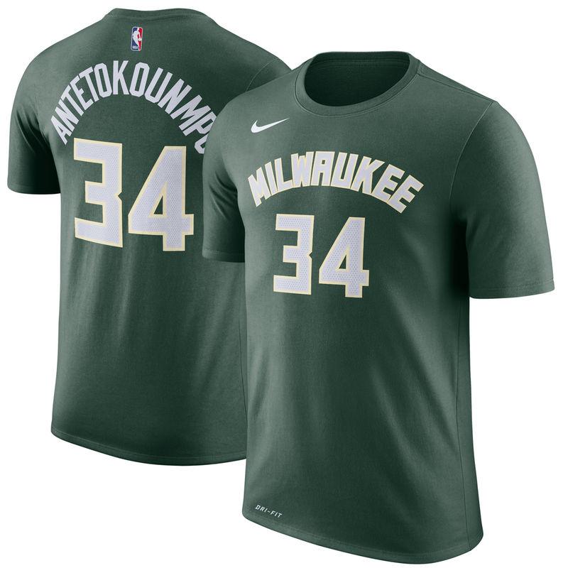 3bd81c8c3 Giannis Antetokounmpo Milwaukee Bucks Nike Name & Number Performance T-Shirt  – Hunter Green