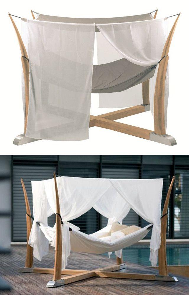 canopy double wooden garden bed kokoon by royal botania | #design, Attraktive mobel