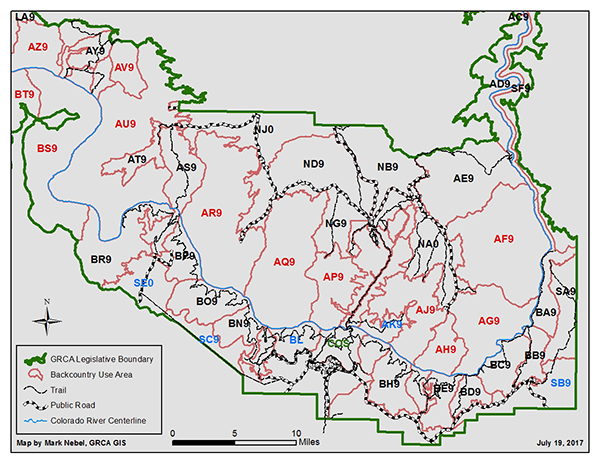 map of Grand Canyon backcountry use areas, see link below ...