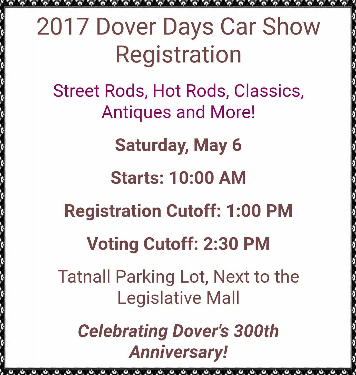 Dover days car show dover de saturday may 6th http