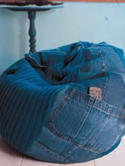 Bean Bag Free Pattern From Rowan Compiled Recycled Jeans And Knitted Parts Using Rowans New Original Denim Yarn Which Fades Over Time Just As Your