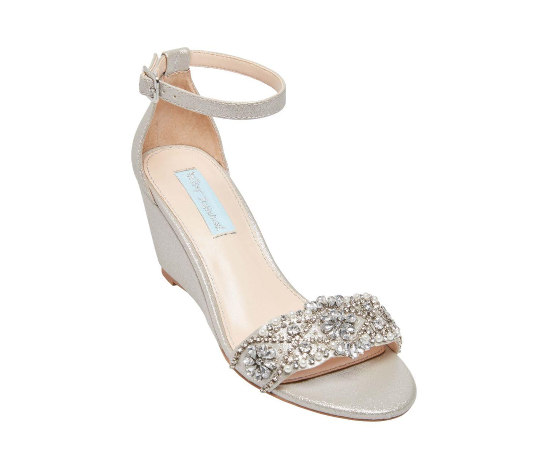 Sb Taryn Silver Betsey Johnson Wedge Wedding Shoes Betsey Johnson Wedding Shoes Beach Wedding Shoes
