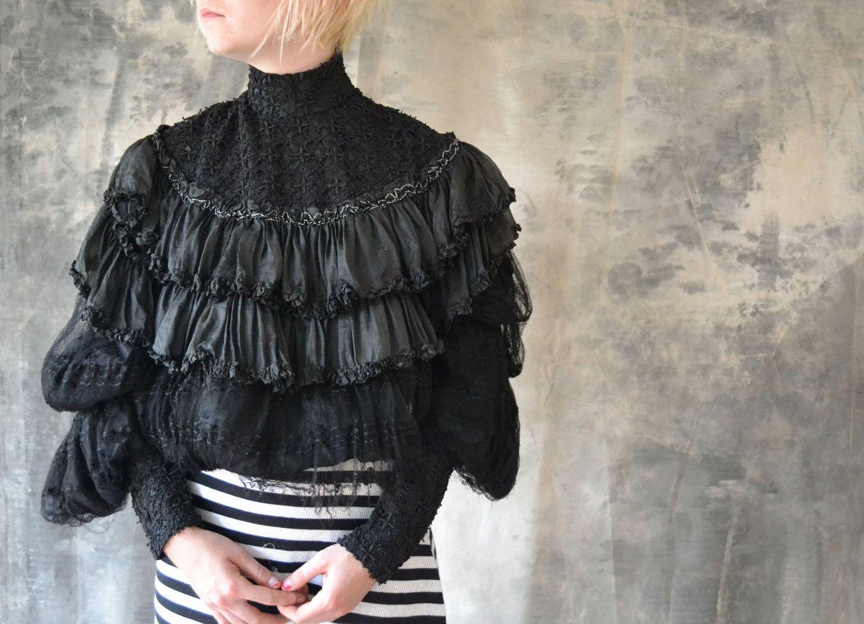 Steampunk Victorian / Edwardian Black Lace Blouse by Petrune, $75.00