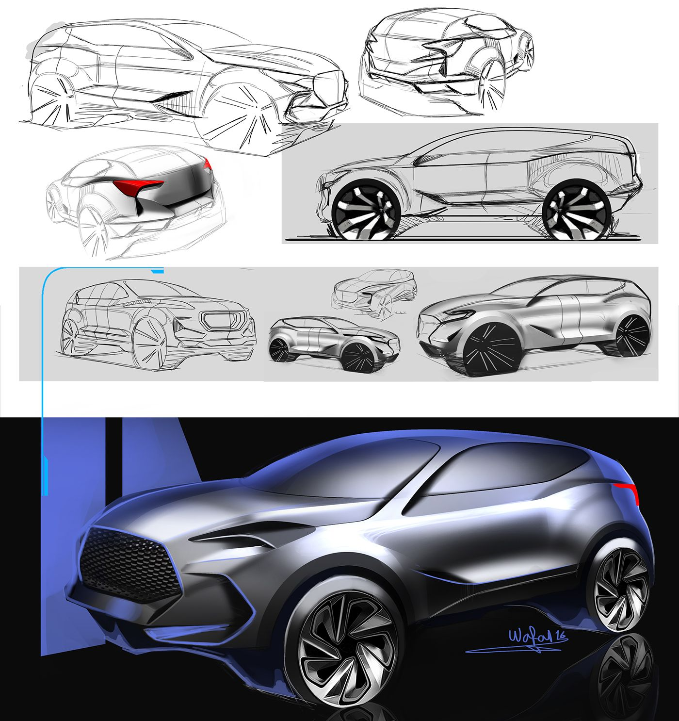 hyundai 7 seater suv 2016 on behance my sketches and. Black Bedroom Furniture Sets. Home Design Ideas