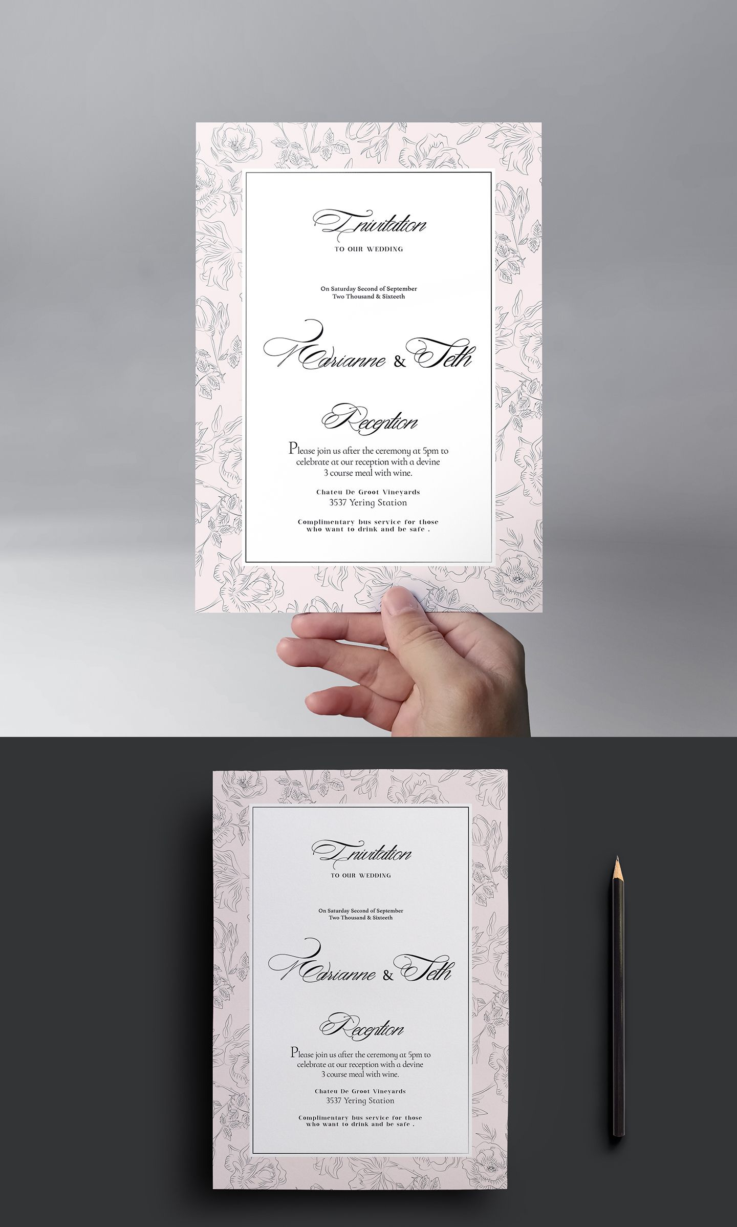 Free Wedding Invitation Template And Other Stationery Items Works