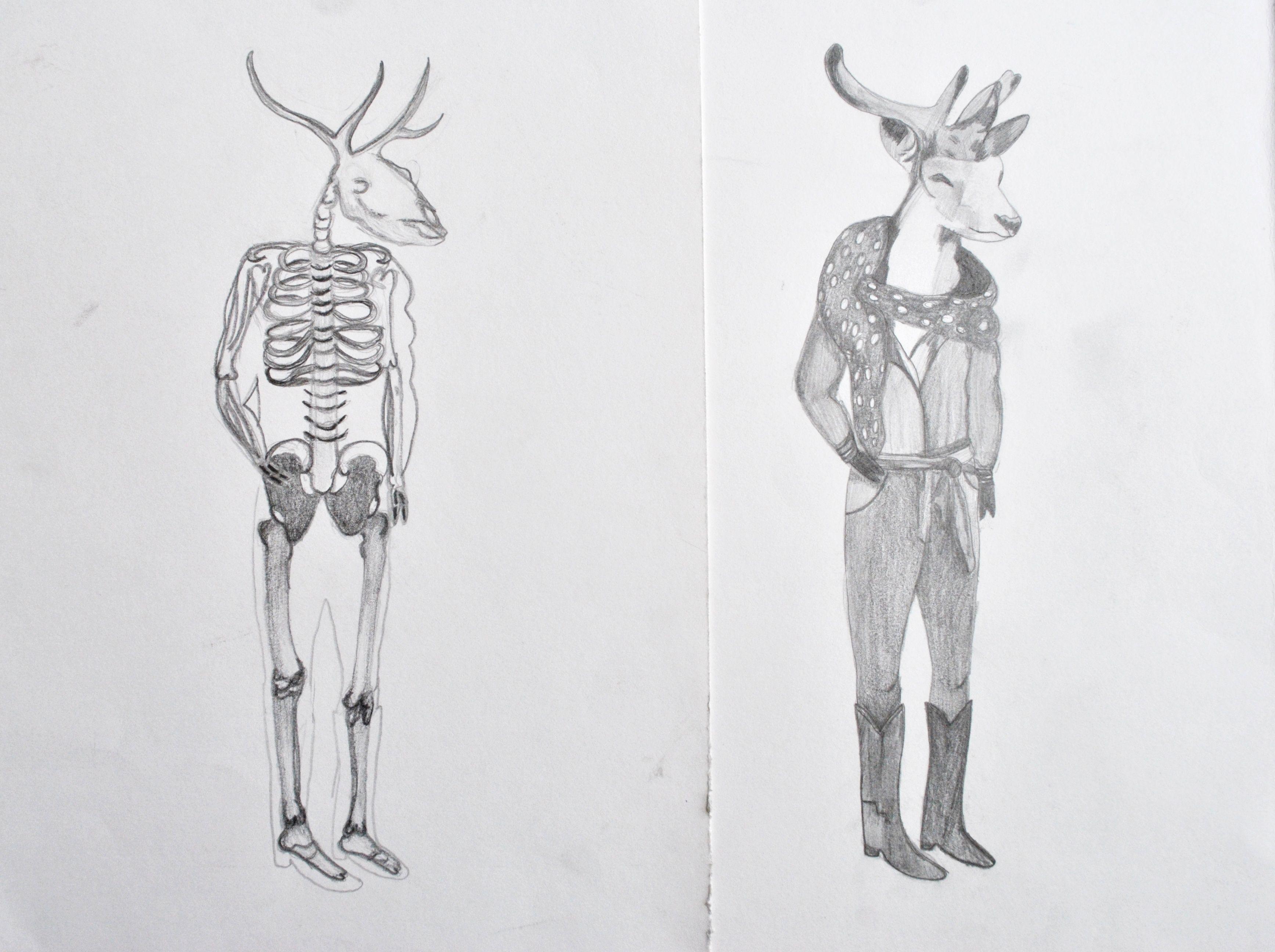 Half Man Half Animal Grayscale Pencil Exercise