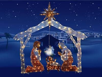 72 Pre Lit Nativity Scene Clear Lights Outdoor Christmas Holiday