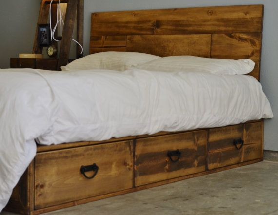 Rustic Wood Platform Storage Bed with Drawers Pulls and Headboard ...