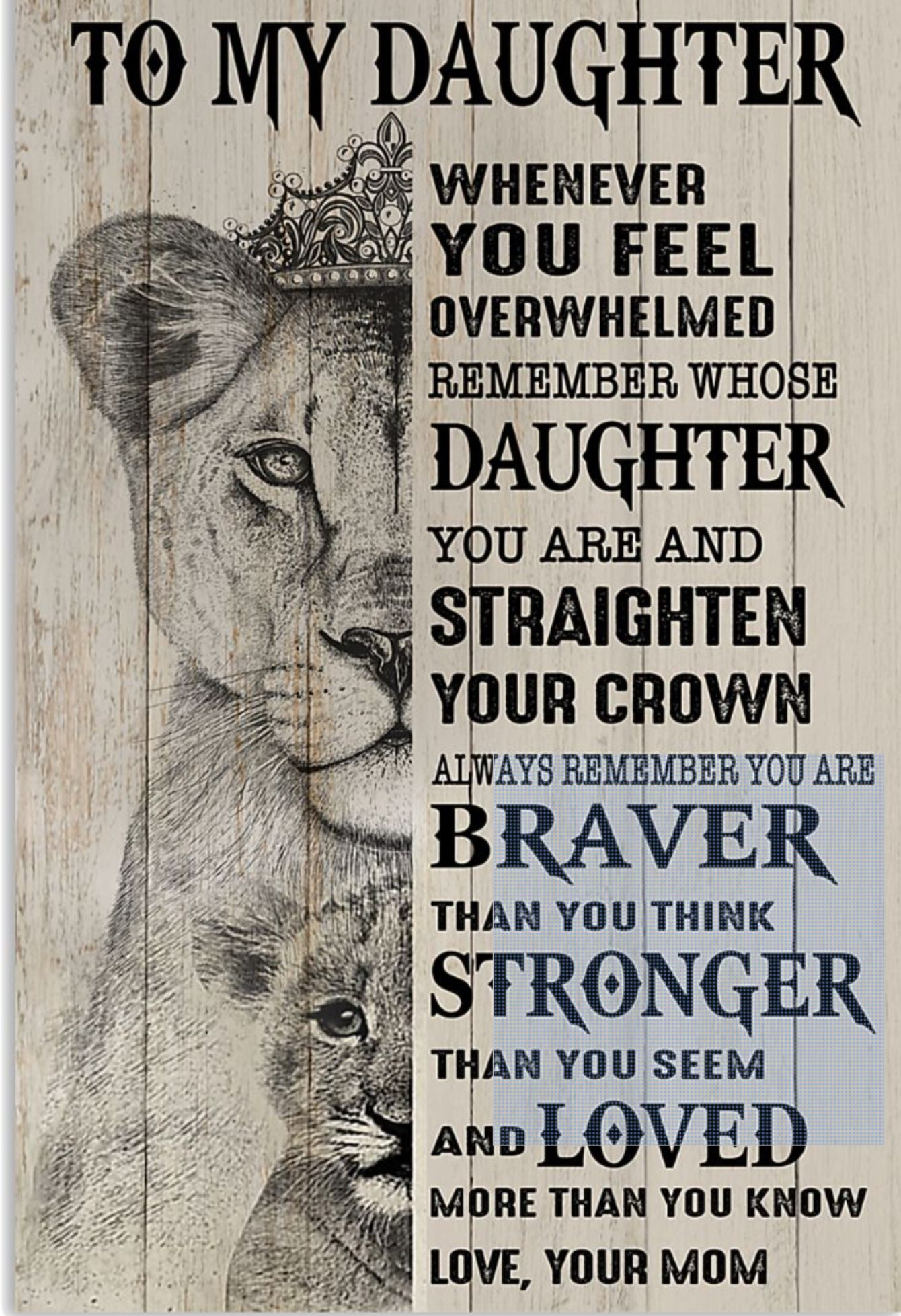 You Are And Straighten Your Crown I Love You Forever Lioness Vertical Poster