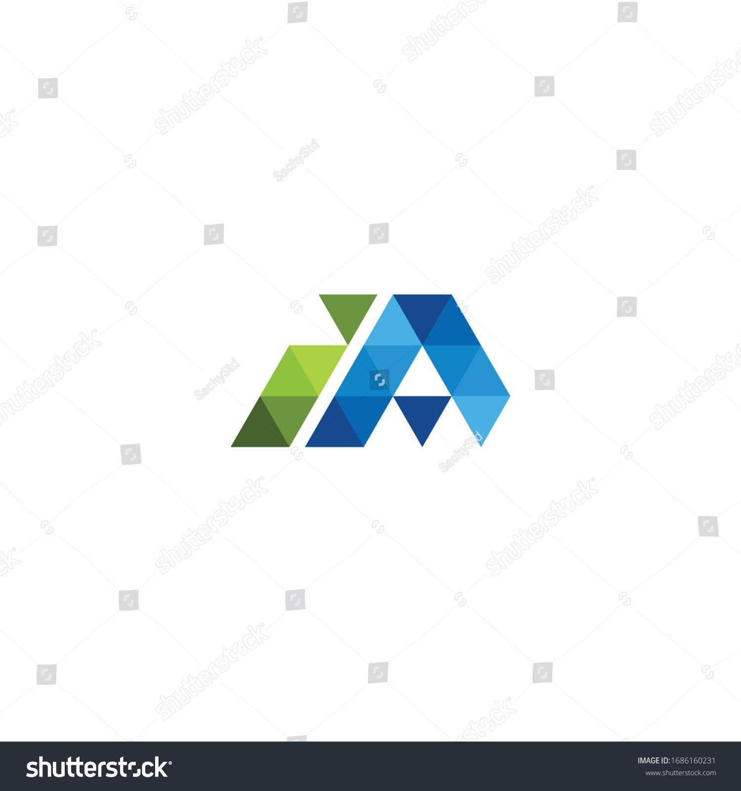 letter ia low poly logo icon design