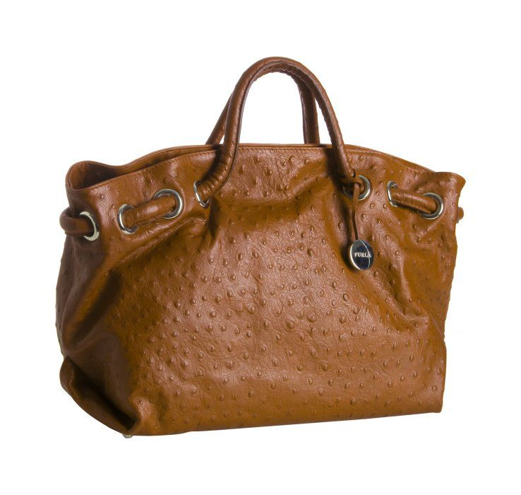 """Orange ostrich embossed leather """"Carmen"""" tote From Furla"""