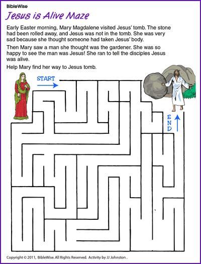 Jesus Is Alive Maze Jesus Resurrection Kids Korner