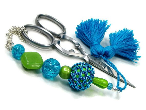 Scissor Fob Beaded Aqua Blue Lime Green Scissor by TJBdesigns, $18.00
