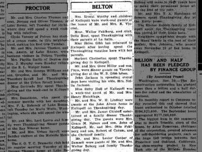 Belton 30 Nov. 1932