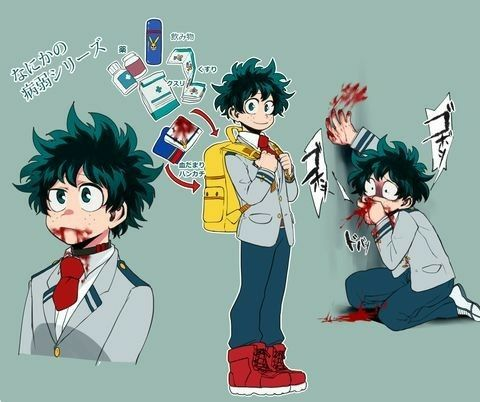 Sick Deku, AU, text, blood, collage, sad, Midoriya