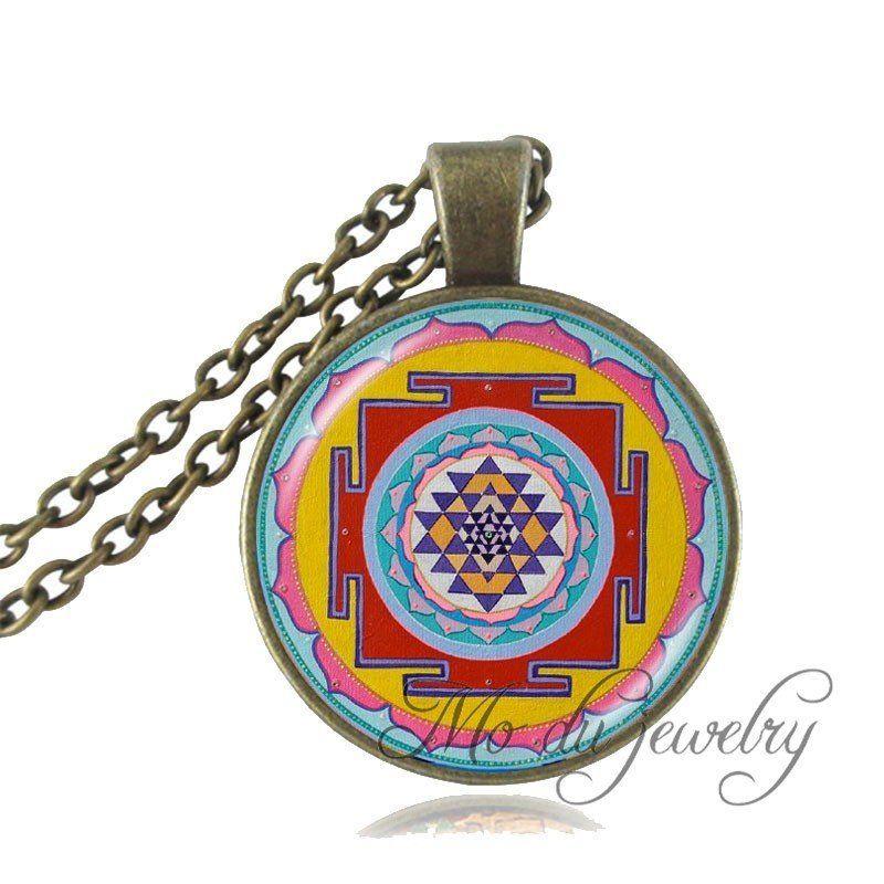 Fashion Buddhist Sri Yantra Pendant Necklace Sacred Geometry Sri Yantra Jewelry, Jewelry wholesale