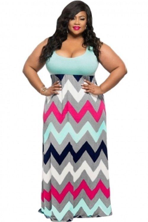 9e973d7af0a Plus Size Light Blue Top Multicolor Zigzag Maxi Dress  Sun Dress 2X 3X   Unbranded  BeachDressMaxiSundress  SummerBeach
