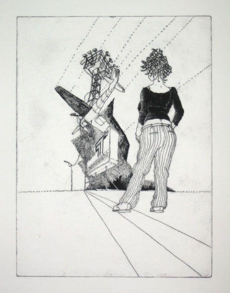 Martin Karcher: Calamity Jane Radierung 04, 35 x 50 cm; Kaltnadel-Radierung, 2011