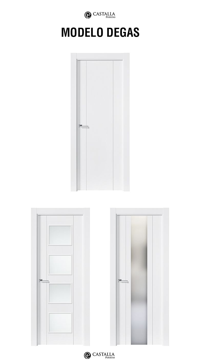 Puerta de interior con cristal modelo degas puertas for Puertas semi macizas blancas