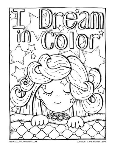 I Dream In Color Coloring Page For Adults This Sweet Coloring Page Features A Sleeping Girl With Beautiful L Free Coloring Pages Coloring Pages Coloring Books