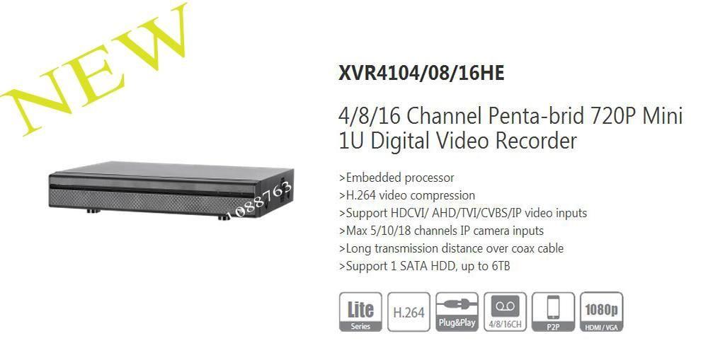 DAHUA NEW Product 4/8/16 Channel Penta-brid 720P Mini 1U Digital