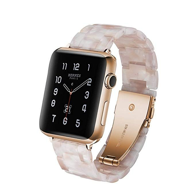 4a8bd7118 Floral Marble Apple watch band women, Apple watch strap, genuine leather  band, pink white 38mm 42mm S056