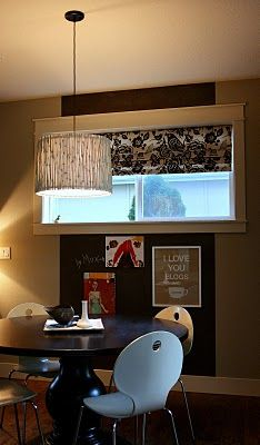 chalkboard wall, coffee blogs print, diy bamboo light, graphic roller shade, dark table w white chairs, simply great, janell beals, isabella and max