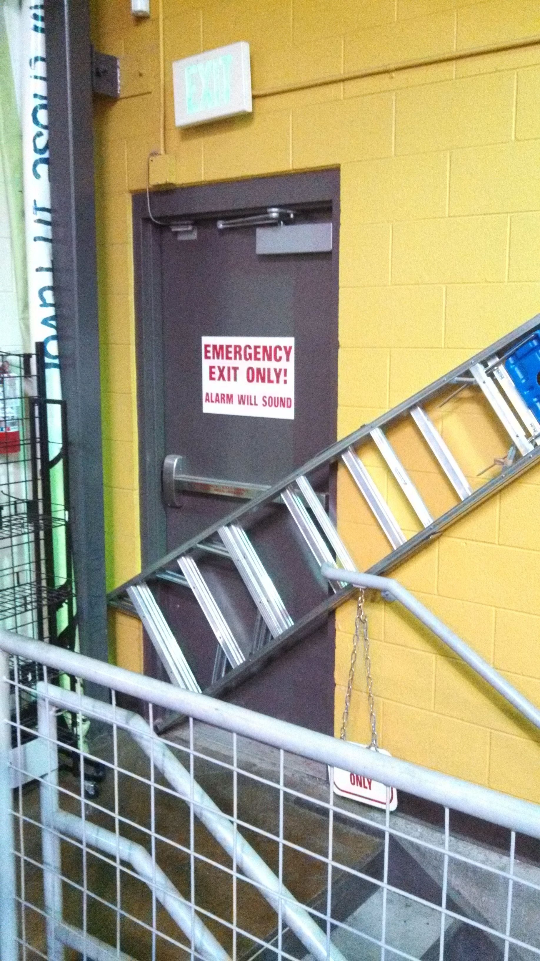 That's an OSHA approved ladder storage and emergency exit