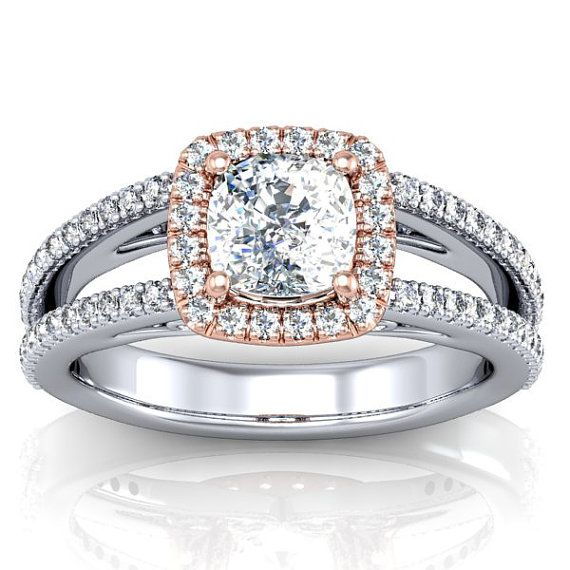Cushion Cut Rose Gold and White Gold Diamond and by PinkNorth